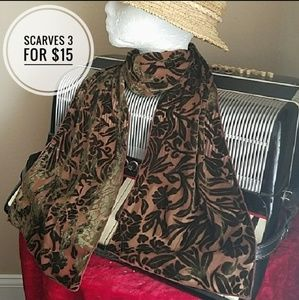 Accessories - GORGEOUS BROWN SHEER & VELOUR SCARF